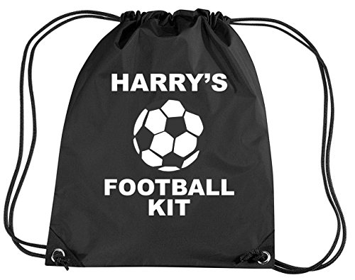 BLACK PERSONALISED FOOTBALL KIT with name' Children's Gym/PE/Drawsting Bag (PLEASE GO TO ADD GIFT OPTIONS.....ENTER NAME IN FREE GIFT MESSAGE SECTION...AND SAVE)
