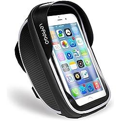 LEMEGO Support Téléphone Vélo Etanche, Sacoche Vélo Guidon Cadre Housse Smartphone pour Vélo VTT Moto avec Pochette Rangement Ecran Tactile Transparent pour Smartphone sous 6 Pouces