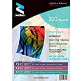 Zentesi A4 Laminating Pouches High Gloss Laminator Sleeves 150 Micron (75 + 75 Microns) Glossy Laminate Pouch Sheets - Pack of 200