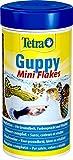 Tetra Guppy (Hauptfutter für Guppys und andere lebendgebärende Zahnkarpfen, Miniflocken mit Farberstärkern), 250 ml Dose