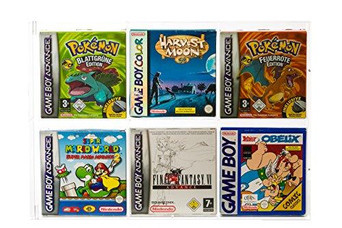 UV Absorptive Acrylbox Wandregal Für Game Boy Classic Color & Advance Original Verpackungen I Passend Für GB Spiele Wie Super Mario Land 1 2 3 Wario Land Zelda Tetris Pokemon Gelb Blau Rot Gold UVM