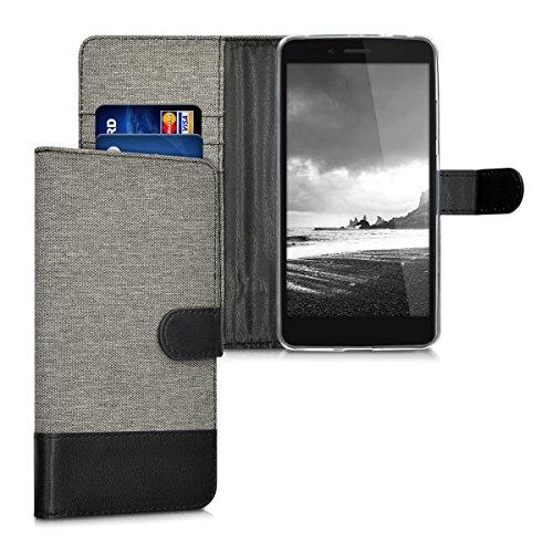 kwmobile Samsung Galaxy Xcover 3 Hülle - Kunstleder Wallet Case für Samsung Galaxy Xcover 3 mit Kartenfächern und Stand Schutzhülle Grau (3 Galaxy Wallet Case Samsung)