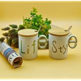 Satyam Kraft Designer Life & Style Ceramic Coffee Mugs (Combo Of 2) With Wooden Lid And Metal Spoon/Gift For Birthday -300 Ml
