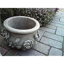 Maceta fabricada a mano, de piedra para jardín