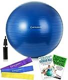 –Balón de ejercicio (55cm, 65cm y 75cm bola de la estabilidad con ejercicio con bomba de mano, ejercicio E-Book y bono bandas de resistencia para Yoga, Pilates y Core Training, Azul