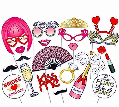 Hochzeits-Requisiten für Junggesellinnenabschied, Braut, Party, Foto, Requisiten, perfekte Selfies mit diesen Fotoautomaten Requisiten für Verlobung und Partyzubehör für Mädchen ()
