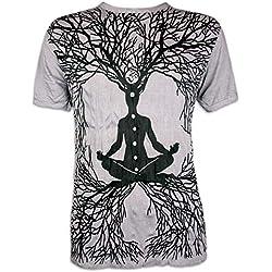 Sure Clothing Camiseta Hombre Wicca Guru del Arte Buda Yoga Hinduismo India Zen Tailandia Alternativa Ocio Hippie Boho Goa Guru Reggae (Gris XL)