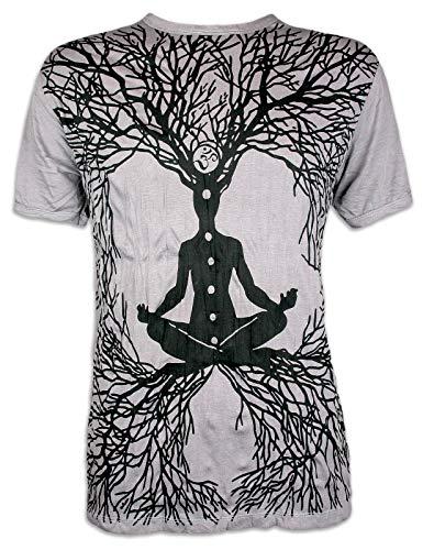 Sure Herren T-Shirt Wicca Art Guru Size M L XL Magie Psychedelic Yoga Goa Trance Hippie Yogi (Light Grey L)