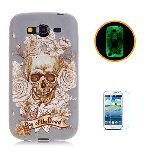 CaseHome Samsung Galaxy Grand Neo Plus (I9060) Luminous Hülle (Mit Frie Displayschutzfolie) Leuchtende Silikone Rückhülle Für iPhone 6 6s Plus 5.5 Zoll Zoll Silikon Etui Handy Hülle Weiche Transparent Gold Schädel-Rosen