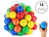 #8: iPearl Plastic Color Balls Genuine Quality Set of 15 - 8 cm Diameter Similar Size of Cricket Ball
