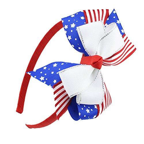 OULII American Flag Bow Stirnband 4. Juli Stirnband patriotischen Haarband Band Stirnband gestreift Kinder Baby Mädchen Cute Hair Kleid für National Flag Day