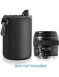 Neewer Sac de Caméra Lens Cylindrique Noir de Taille Moyenne avec Serrage de Cordon Housse d'Objectif pour Nikon Canon Sony Pentax