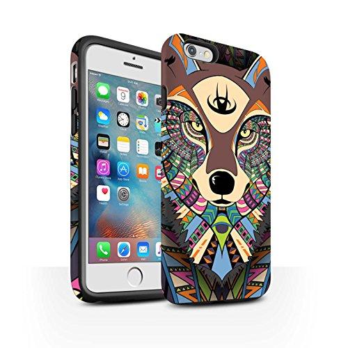 STUFF4 Matte Harten Stoßfest Hülle / Case für Apple iPhone 5/5S / Elefant-Grün Muster / Aztec Tier Muster Kollektion Wolf-Farbe