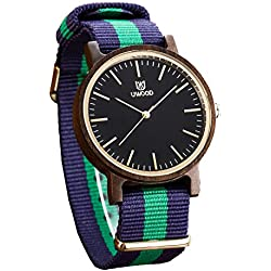 Uwood Dress Casual Rare Slim Unique Black Sandalwood Wood Watch With Nato Nylon Strap