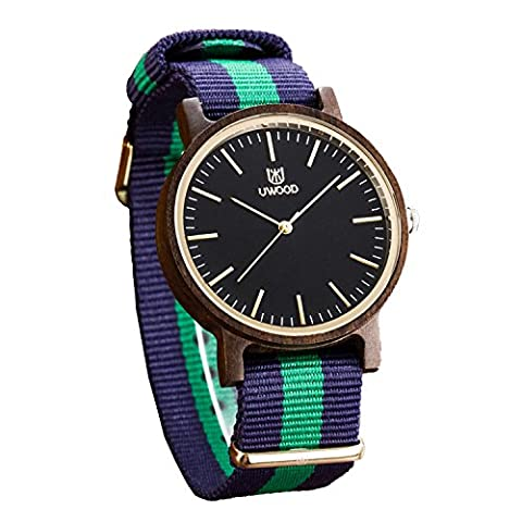 Casual Montre en Bios, UWOOD Mode Hommes Nato Nylon Strap Sport Casual Bracelet Montre en Bios Slim Luxe Montre en Bios 40mm(Bois de santal noir)