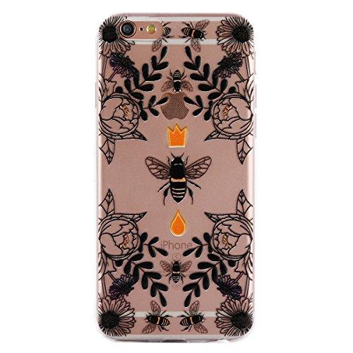 iPhone 6 Plus Hülle,Transparent Crystal Klar Case für iPhone 6S Plus,Ekakashop Ultra dünn Slim Bunt Blauer Schmetterling Muster Modisch Durchsichtig Weiche Silikon TPU Flexible Gel Case Defender Prote Biene