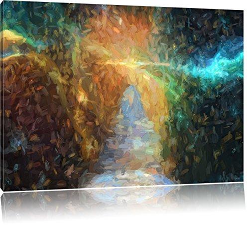 Kosmische Treppe in die Galaxies Kunst Pinsel Effekt, Format: 60x40 auf Leinwand, XXL riesige Bilder fertig gerahmt mit Keilrahmen, Kunstdruck auf...