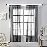 Jaminy Halbtransparent Sheer Vorhänge Floral Tüll Voile Fenster Bildschirm Quaste Tür Schal Drapes Querbehang für Room Decor (E)