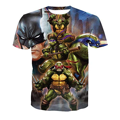 Nouxh Herren T-Shirts Sommer O-Neck Rundhals Tee Unisex 3D Druckten Stretch Slim Fit Basic Shirt beiläufige Kurzarm Polyester+Baumwolle Teenage Mutant Ninja Turtles (Kleidung Mutant Turtles Ninja Teenage)