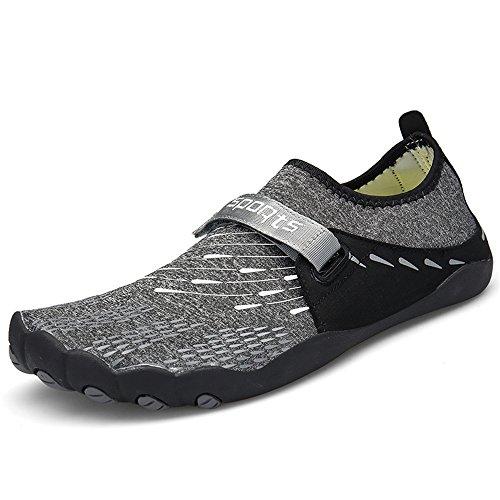 Dreamshow Barfußschuhe Damen Herren Aquaschuhe Sport Outdoor Fitnessschuhe Trekking Schuhe Ultraleicht Rutschfest 36-46, Schwarz, 43 EU