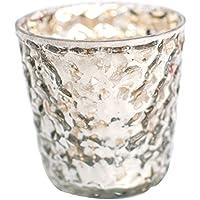 Insideretail–Portavelas Boda Bubble–45x 45x 10cm (Cristal de Mercurio con Marco de diseño Desgastado Foil, 7cm, 48Unidades, Color Plateado