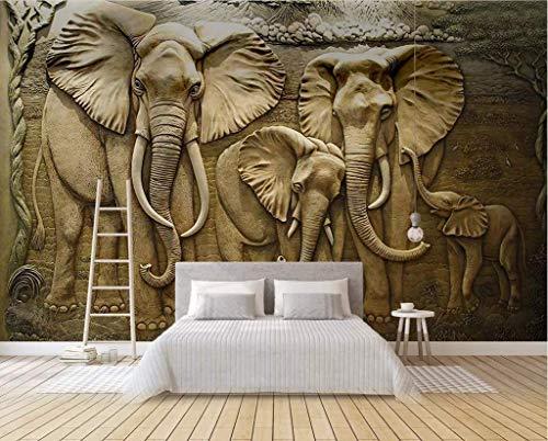 LONGYUCHEN Benutzerdefinierte 3D Seide Wandbild Tapete Geprägtes Muster Gold Elefant Geeignet Für Wohnzimmer Schlafzimmer Hotel Café Wohnkultur Wandbild,260Cm(H)×420Cm(W)