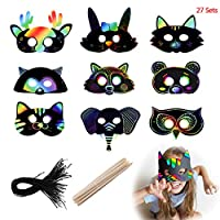 Scratch Art Masks, Scoolr Scratch Rainbow Masks Magic Scratch Paper Art for Kids DIY Animal Masks Dress Up with Elastic Cords and Wood Stylus for Kids Party Favor Craft Supplies Classroom Activities