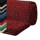 Badematte Hochflor Sky Soft | Weicher, flauschiger Badezimmerteppich in Shaggy-Optik | Badvorleger rutschfest waschbar | Öko-Tex 100 zertifiziert | 16 Farben in 6 Größen (80x150 cm, weinrot)