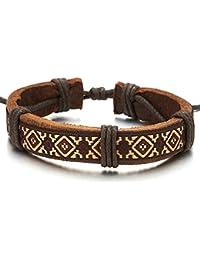 Etnico Tribal Arte Popular Pulsera Marrón Cuero Textil, Hombre Mujer Niños Pulsera del Abrigo, Ajustable