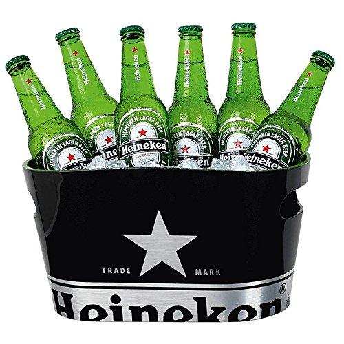 Heineken Eiskühler - einschaliger Eiskübel für Bierflaschen, mit Heineken-Logo, schwarz