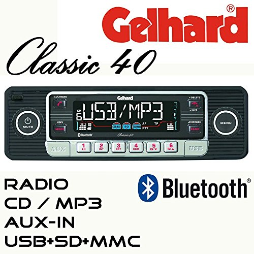 "Gelhard Classic 40 \""Retro Look\"" RDS Autoradio CD MP3 USB SD + Bluetooth Freisprecheinrichtung"