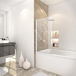 Schulte pare baignoire rabattable, paroi de baignoire réversible, 1 volet pivotant, verre transparent, profilé blanc, 70x130 cm