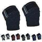 GYMGEARS Kniebandage [2er Set mit Klettverschluss] Knee Wraps 200cm - Knie Bandagen für Kraftsport,...