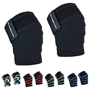 Kniebandage [2er Set mit Klettverschluss] Knee Wraps 200cm – Profi Knie Bandagen für Kraftsport, Bodybuilding, Powerlifting, CrossFit & Fitness – Für Frauen & Männer geeignet – 2 Jahre Gewährleistung