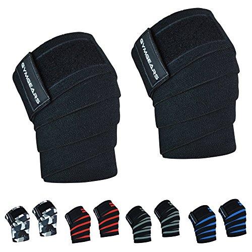 Kniebandage [2er Set mit Klettverschluss] Knee Wraps 200cm - Profi Knie Bandagen für Kraftsport, Bodybuilding, Powerlifting, CrossFit & Fitness - Für Frauen & Männer geeignet - 2 Jahre Gewährleistung