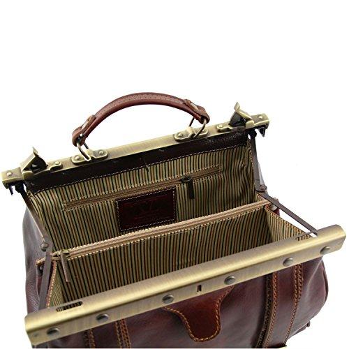 Tuscany Leather - Monalisa - Borsa medico in pelle con fibbie frontali Nero - TL10034/2 Testa di Moro