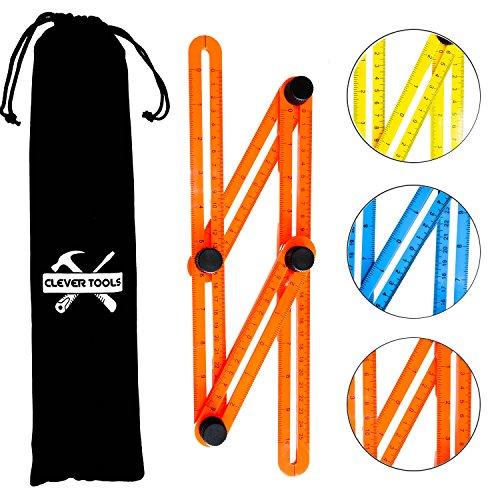 CLEVERTOOLS MULTI LINEAL (in 3 Farben + Tasche) - Das Messlineal für einfaches Messen von Winkeln (Orange)
