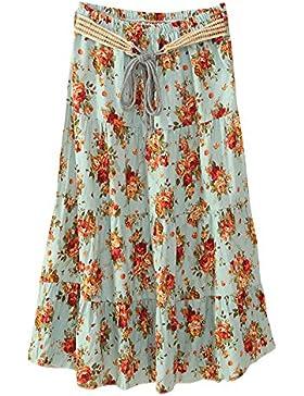 Quge Boho Largo Midi Falda Para Mujeres Faldas Estampada Floral Bohemias Para Playa Verano