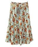 Damen Sommer Lang Midi Rock Strandrock Elegant Röcke Freizeitrock Mit Floral Bedruckt Grüne Rose