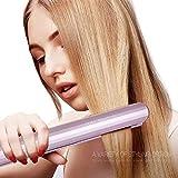 Haarglätter, SUMLIFE Haarglätter Lockenstab 2 in 1 Keramik Turmalin Glätteisen Locken und Glätten Profi mit 250-450 Grad Temperaturregelung Rotierend, Rosa