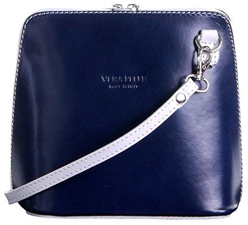 Primo Sacchi Italienisches Leder handgefertigt Marineblau und weiß klein/Mikro-Umhängetasche oder Schultertasche Handtasche.Beinhaltet eine schützenden Aufbewahrungstasche gebrandmarkt.