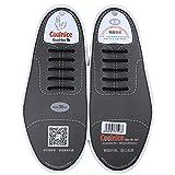 coolnice Lacets Elastiques Imperméables No Tie Lacets Silicone pour Adultes Femme Homme Chaussure en Cuir Sport Shoes Sneaker Bottes Souliers - 10Pcs 30MM Noir
