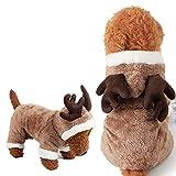 Halloween-Kostüm, Einhorn, weiches Fleece, Haustier-Kostüm, warm, Haustier Pyjama Kleidung Vierbein-Jumpsuit Cosplay Outfit XS Elk Coffee