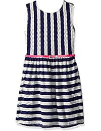 Blush by Us Angels Big Girls' Striped Pointelle Knit Dress with Triple Bow