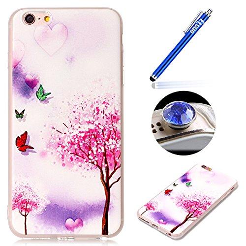 iPhone 6 Plus Coque iPhone 6S Plus Coque en Transparent,iPhone 6 Plus Coque en Silicone,ETSUE iPhone 6S Plus TPU Coque Crystal Cristal Clear Case Transparent avec Belle Funny Fleur Papillon Citron Pas # Papillon