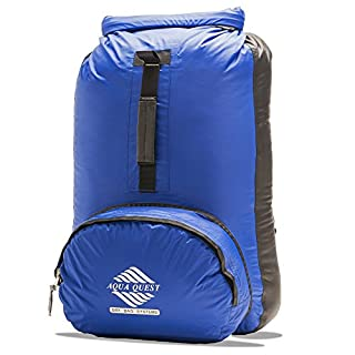 Aqua Quest Himal Backpack - 100% Waterproof 25L Dry Bag - Lightweight, Foldable, External Pocket - Blue