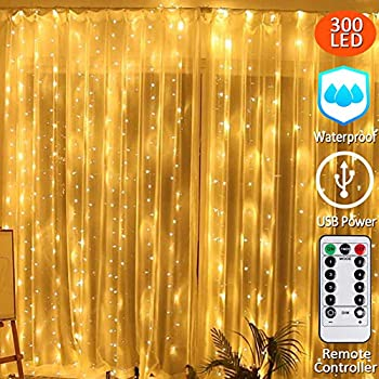 304 LEDs String Fairy Lights Fairy Twinkle Starry Lights for Party Wedding Home Patio Lawn Garden Bedroom Decoration,Remote Control Included Neretva Window Curtain Lights 8 Modes Linkable
