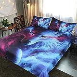 DXSX Bettwäsche Bettbezug 3D Wolf Theme Muster Bettbezug und Kissenbezug Easy Care Kinder Jungen Teenager Männer Bettwäsche (Lila & Blauer, 135x200cm)
