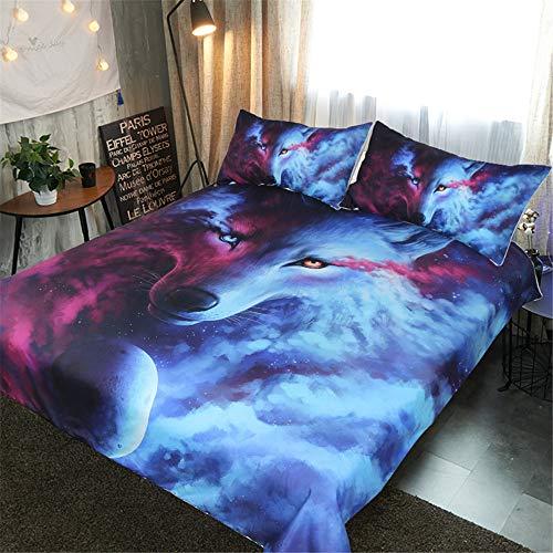 DXSX Bettwäsche Bettbezug 3D Wolf Theme Muster Bettbezug und Kissenbezug Easy Care Kinder Jungen Teenager Männer Bettwäsche (Lila & Blauer, 135x200cm) (Queen Kinder Bettbezug)