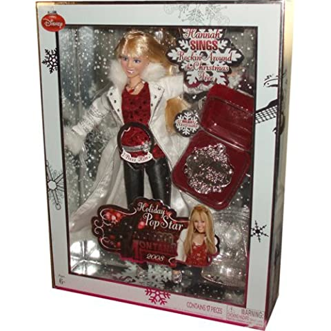 Disney 2008 Hannah Montana Holiday Pop Star 11 Inch Singing Doll - Hannah Montana in Cool Christmas Fashion Plus Holiday Keepsake and Display Stand by Hannah Montana